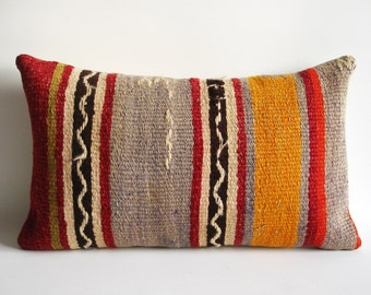 Sukan / SOFT Hand Woven - Turkish  Kilim Pillow Cover - 12x20 inch - Red, Beige, Gray, Soft Purple,Orange, Green, Brown Color