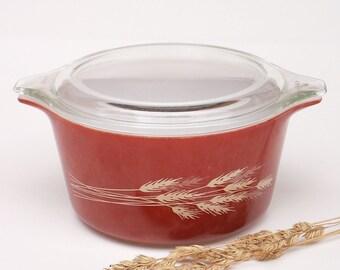 Moisson d'automne plat Pyrex Casserole à couvercle bol de Cendrillon