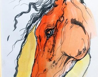 Horse head, equine art, equestrian, cheval, original ink drawing