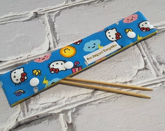 Double Point Needle Case, DPN Needle and Hook Holder, DPN Cozy, Needle Keeper - Hello Kitty