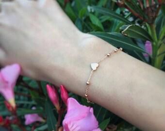 14K Gold Heart Beaded Bracelet - Heart Beaded Bracelet - 14k Gold Bracelet -   Available in 14k Gold, White Gold or Rose Gold