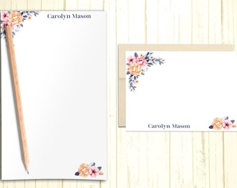Personalized Stationary Set, Gift Set with Custom Flat Cards and Notepad, Floral Note Cards With Envelope, Flat Note Cards, PS003