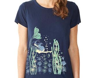 Mermaid T-shirt, Nautical, Boho, Mermaid Art, Mermaid graphic t-shirt, Ocean Flora, Art T-shirt, Cool t-shirt