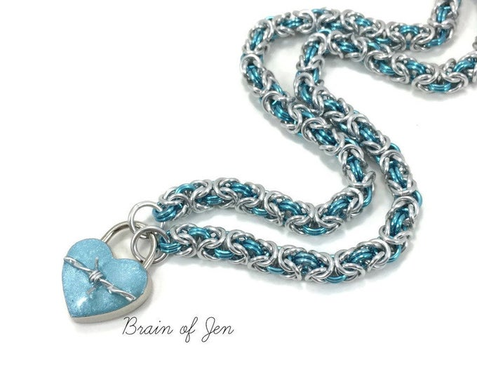 BDSM Slave Collar Silver & Aqua Blue with Heart and Barbed Wire Lock Submissive Collar