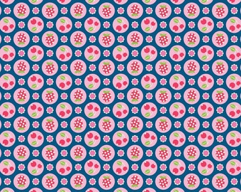 FlutterbERRY berries NAVY -  by Riley Blake Designs  - 32 inches