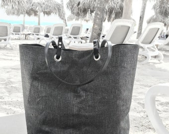 Beach Bag, Metallic Fabric Tote Bag, Black Tote