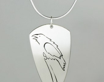 """Calligraphic Raven Pendant, Sterling Silver Elongated Triangle Disc, 1 1/2"""" high"""