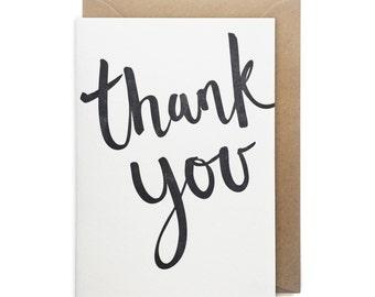 Thank you card, letterpress, handmade - Thank you script