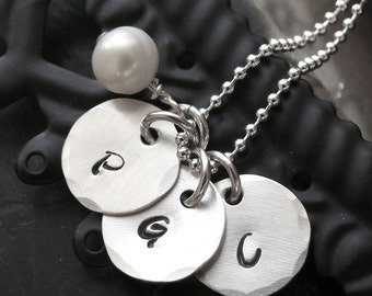 Personalized Triple Inital Necklace - Inital Necklace - Hand Stamped Inital Charms with Pearl