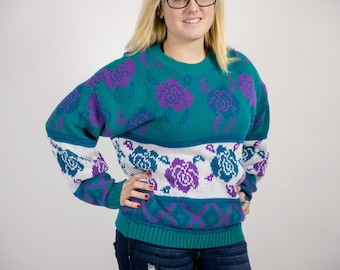 Teal and White Vintage 80s Rose Oversized Sweater