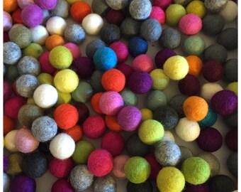 Fair Trade Multicoloured Felt Balls 1cm / 2cm / 3cm x 25/50/100 pc