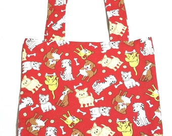Tote Bag Market Book Food Groceries  Shopping Yarn Carry All Cotton Dog Fabric Print Red Handmade Storage Trick or Treat