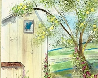 Original Painting*Country Barn with Rooster