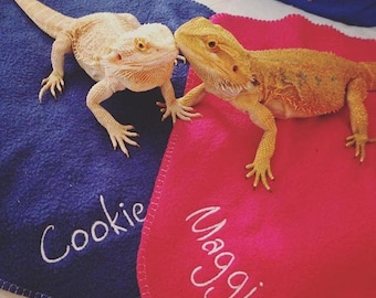 Personalized Blankies for Bearded Dragons, Snakes, & Small Pets!--More color choices!!!