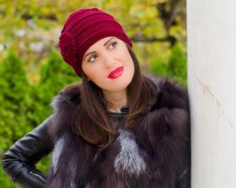 Crochet flower hat, knit hat with flower, flower beanie, womens winter hat, knit hats women, claret flower hat, womens beanies, ladies hats