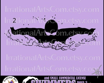 Male Swimmers Silhouettes Pose 2 - Vinyl Ready Images 1 EPS 1 SVG files & 1 PNG + Small Commercial License [Instant Download]