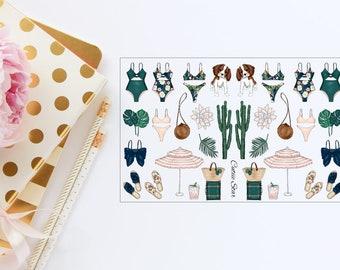 Stickers Palm Spring Summer Deco Sheet | Travelers Notebook Scrapbook