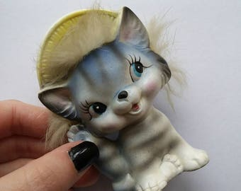 Vintage Cat Figurine,  Cat in Bonnet, Ceramic Cat Figurine, Kitsch Japan Cat
