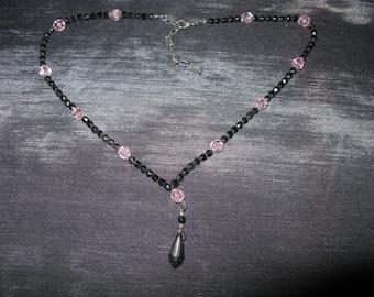 Agatha Jewellery Necklace Black Pink, Unique Necklace Women, lariat necklace