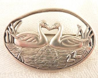 SALE ---- Vintage Dematteo Sterling Openwork Oval Swan Scene Brooch