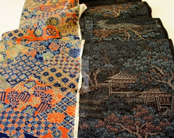 Vintage Japanese Silk Kimono Fabric | Patchwork Lot 112