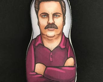 Ron Swanson Parks and Rec Inspired Plush Doll or Ornament