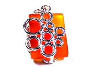 Carnelian Gemstone Necklace in sterling silver