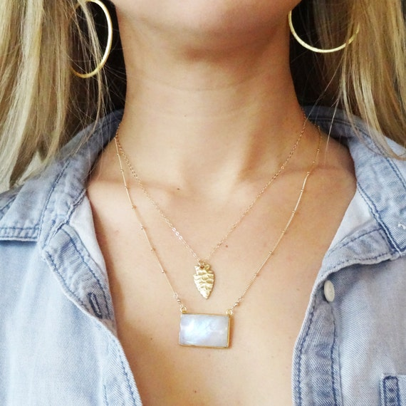 Gold Arrowhead and Moonstone Layer Necklace