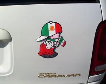 Boy MEXICO flag Decal Sticker