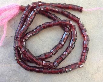 Garnet Disk Beads, Faceted, Garnet Beads, 15 inch strand, 4 to 4.5 mm