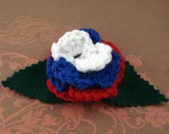 Crocheted Rose Hair Clip - Red, White, and Blue (SWG-HC-HEAM01)