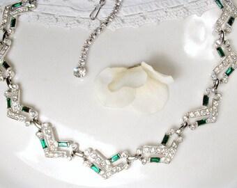 Vintage Art Deco Emerald Necklace, 1920s Green Rhinestone Statement Silver Pave Crystal Modern Gatsby Wedding Bridal Flapper Choker Bib 1950