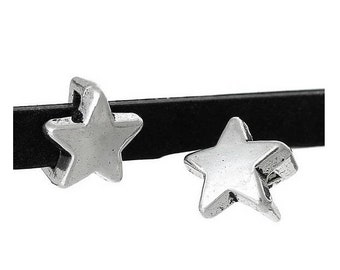 set of 10 beads pass through leather Silver Star bead (B25)