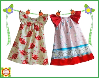 Cecilia SEWING PATTERN for Children + Free Mother-Daughter Apron Pattern, Girls Peasant Dress , Toddler, Baby, 12m-12y, pdf, tutorial
