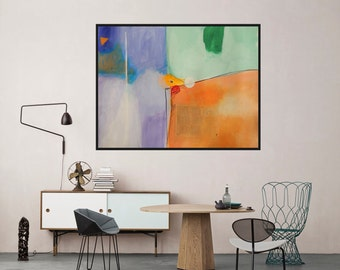 Modern Artwork Green Orange Purple White Abstract Art Big Painting  Contemporary Painting Colorful Modern Wall Decor Mixed media 100 x 70 cm