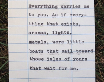 Pablo Neruda quote hand typed on library due date card