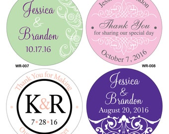 200 - 4 inch Custom Glossy Waterproof Wedding Stickers Labels - hundreds of designs to choose - change designs to any color or wording