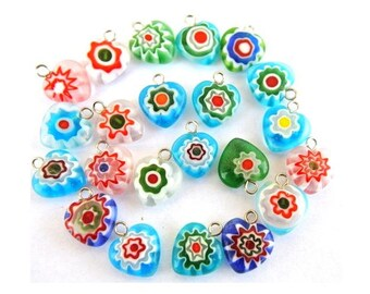 22 Vintage millefiori glass beads heart shape with self loop, can be use as pendant, 12mm