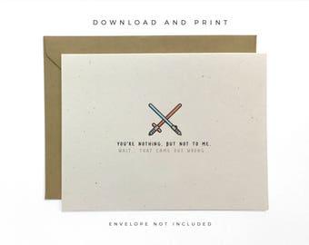 Printable Star Wars Love Card, Valentine's Day Card, Anniversary Card, The Last Jedi Card