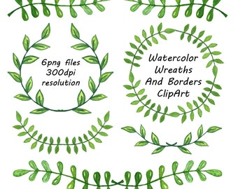 Watercolor Wreaths And Borders clipart, Laurel Wreath, laurel Clip Art, Wreaths Frames, Watercolor leafs Wreath, Personal and Commercial Use