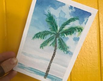 Original Watercolor Postcard Painting