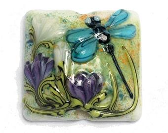 Blue Dragonfly w/Purple Flora Pillow Focal Bead 11816604- Handmade Glass Lampwork Bead