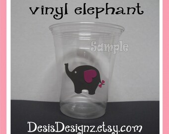 24 Baby shower Elephants vinyl decals Girl baby shower decorations sprinkle party vinyl cup stickers Pary cup sticker vynil decals baby girl