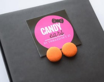 Orange Stud Earrings, Neon Earrings, Button Earrings, Fabric earrings