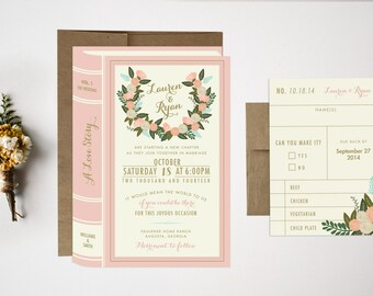 Wedding Invitation Bundle, Library Wedding Invitations, Vintage Wedding, Book Invitations, Library Invitations, Literary Wedding Invites