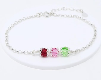 Birthstone Bracelet, gift for mum, sterling silver personalised birthstone family bracelet