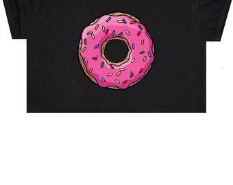 Donuts Crop Top Shirt Tee Womens Girl Funny Fun Tumblr Hipster Swag Grunge Kale Retro Fashion Boho Indie Sweet Candy Sugar Pink Goth Punk
