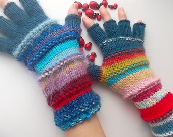 Women Size L 20% OFF Ready To Ship Half Fingers OOAK Mittens Cabled Multicolor Gloves Hand Knitted Warm Accessories Boho Warmers Winter 1254