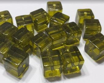 Lot 9 glass beads square 9mm transparent khaki