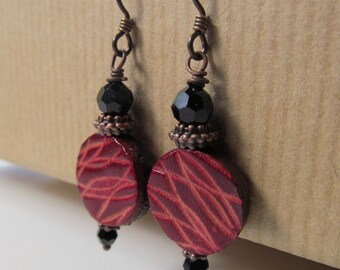 Red Leather Niobium Earrings